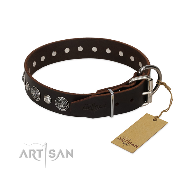Quality full grain leather dog collar with rust-proof hardware
