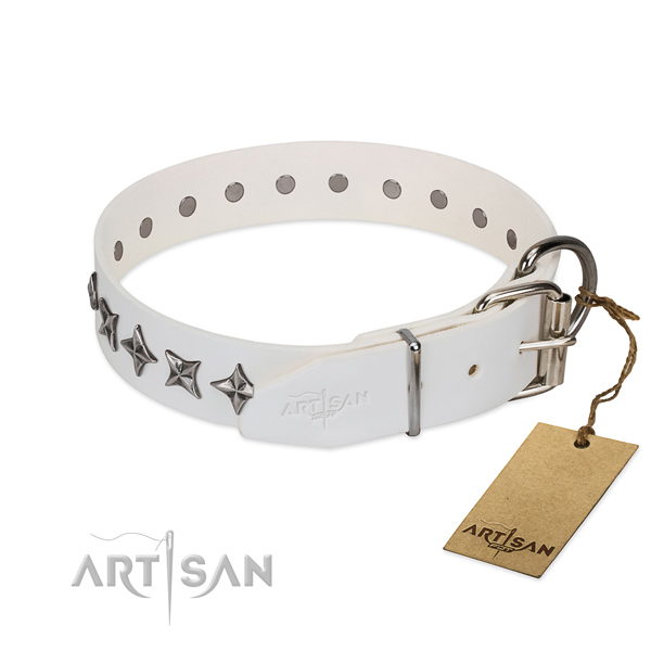 Fine quality genuine leather dog collar with stylish design decorations