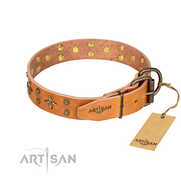Handy use adorned dog collar of top quality genuine leather