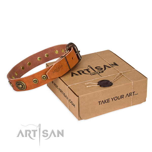 Leather dog collar made of top notch material with corrosion proof traditional buckle