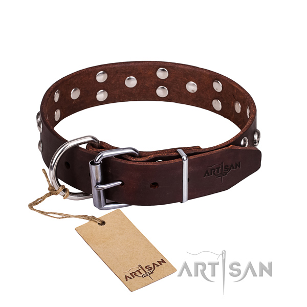Easy wearing dog collar of durable full grain leather with adornments