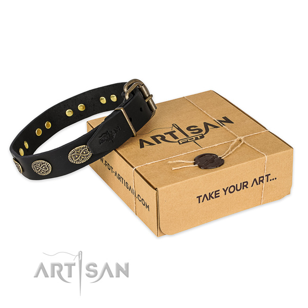 Durable D-ring on full grain natural leather collar for your handsome doggie
