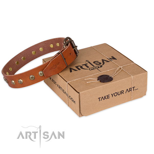 Rust resistant D-ring on natural genuine leather collar for your attractive canine