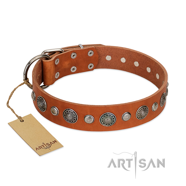 Top rate genuine leather dog collar with rust resistant buckle