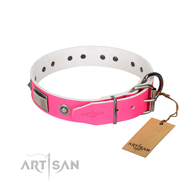 Easy to adjust dog collar of leather with embellishments