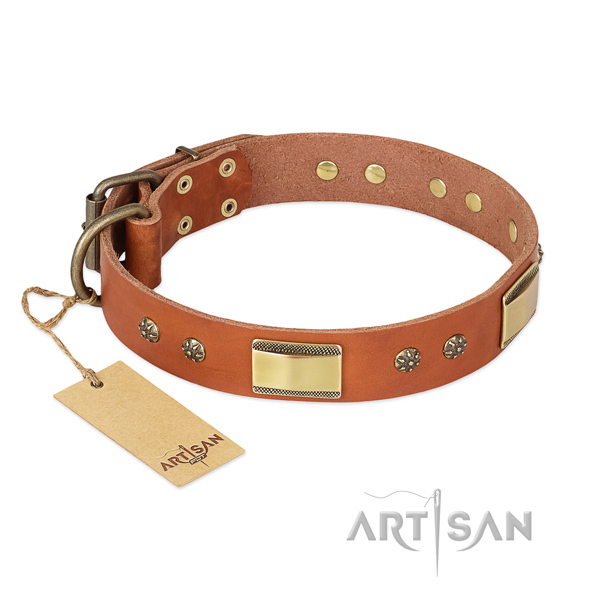 Comfortable full grain leather collar for your pet