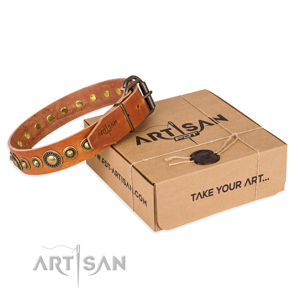 Soft leather dog collar created for comfortable wearing