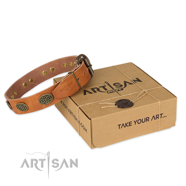 Durable fittings on full grain natural leather collar for your lovely doggie