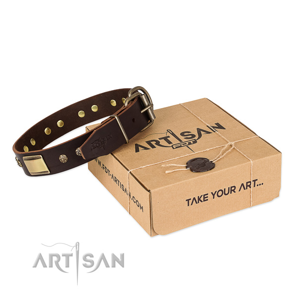 Comfortable leather collar for your lovely dog