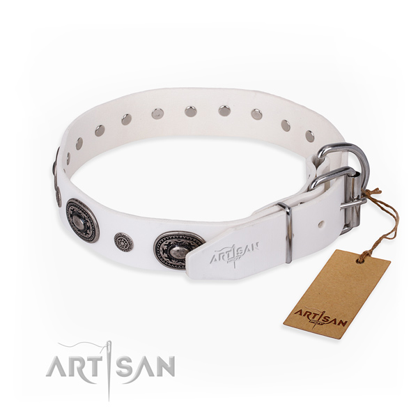Soft to touch natural genuine leather dog collar crafted for stylish walking