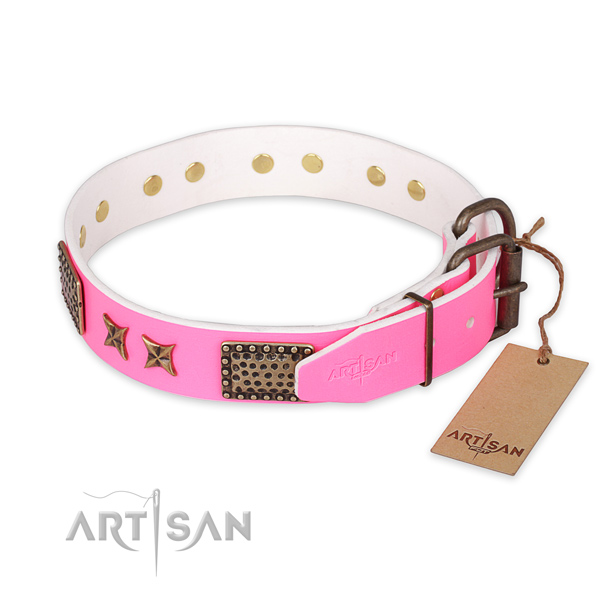 Durable D-ring on full grain natural leather collar for your stylish dog