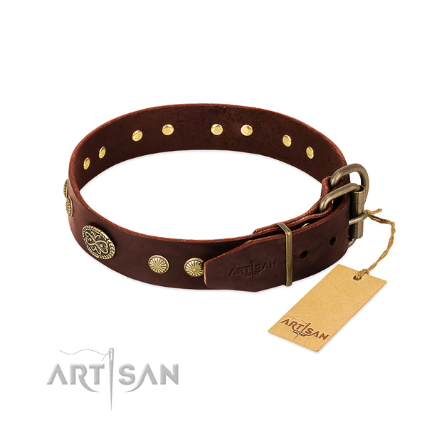 Reliable D-ring on leather dog collar for your doggie