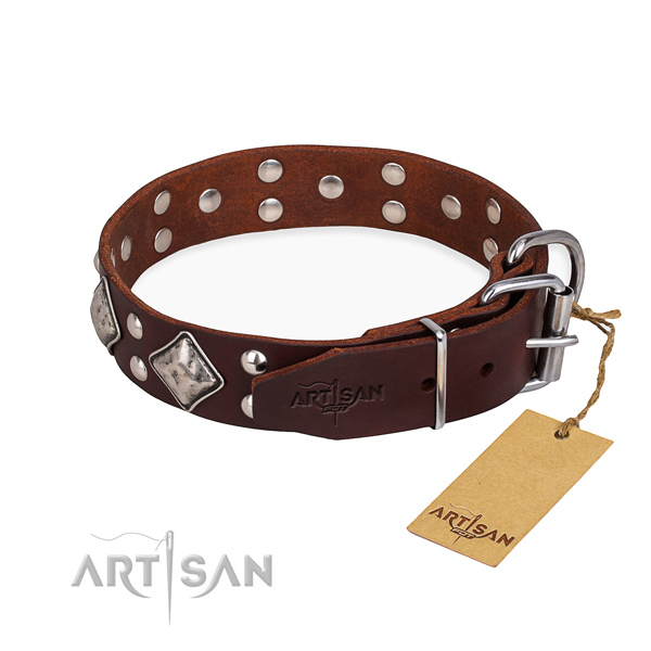Full grain natural leather dog collar with designer strong embellishments