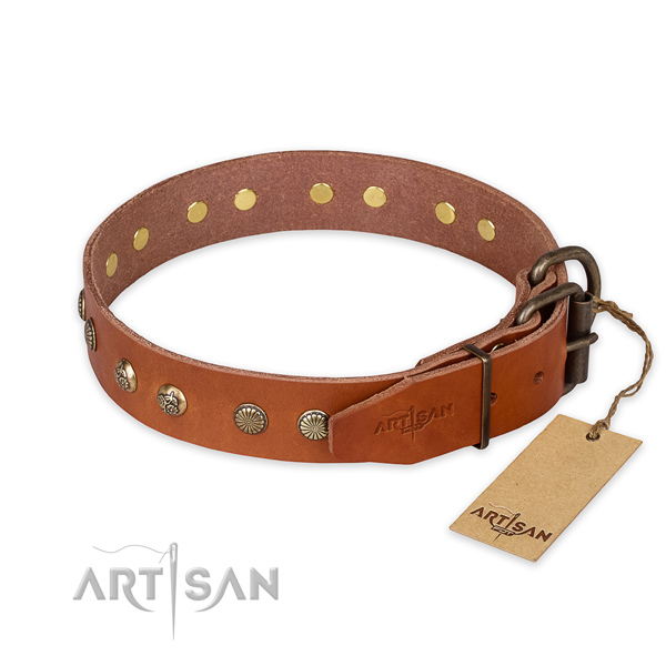 Rust resistant hardware on natural genuine leather collar for your handsome canine