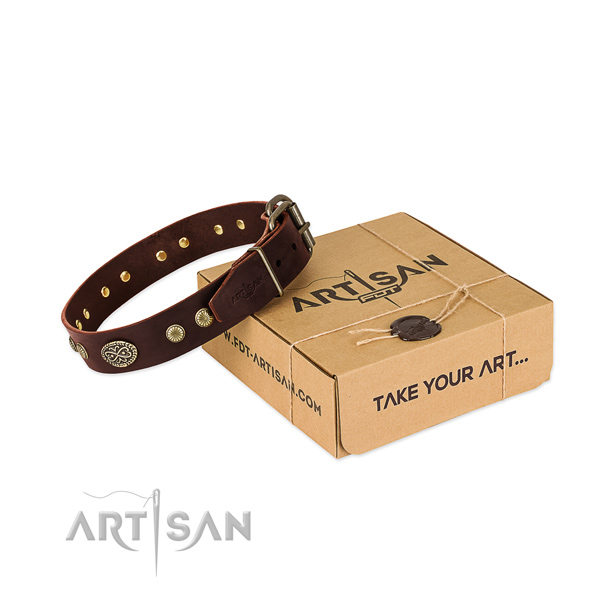 Rust-proof hardware on full grain natural leather dog collar for your canine