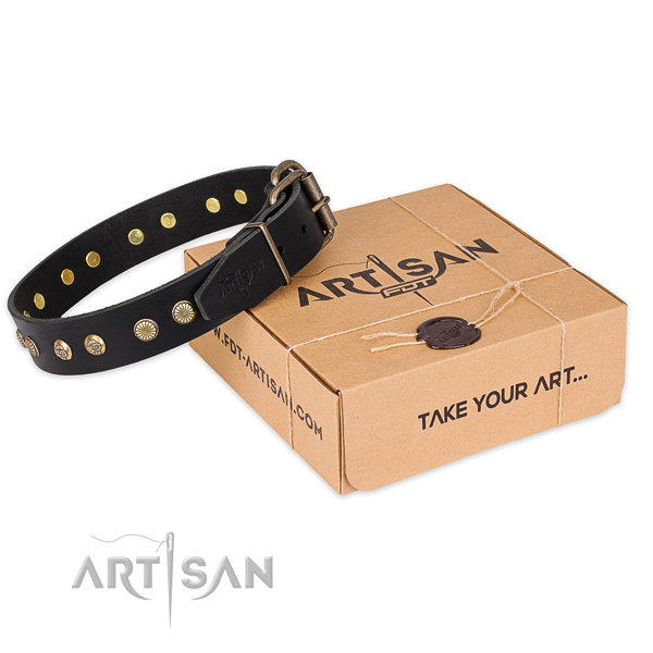 Rust resistant fittings on natural genuine leather collar for your stylish pet