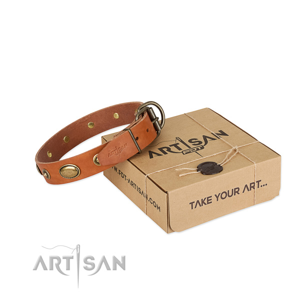 Top quality full grain leather collar for your lovely four-legged friend