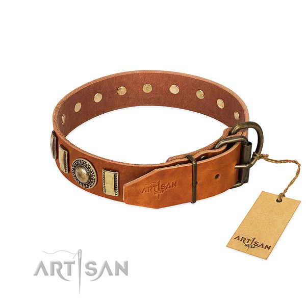 Top notch genuine leather dog collar with corrosion resistant D-ring