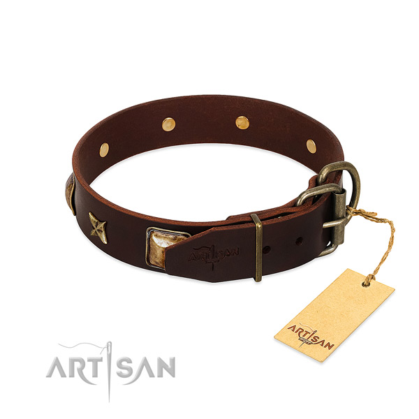 Leather dog collar with strong traditional buckle and decorations