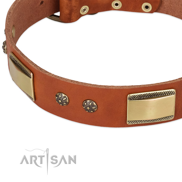 Corrosion resistant fittings on natural genuine leather dog collar for your four-legged friend