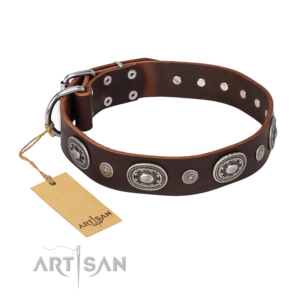 Durable natural genuine leather collar created for your pet
