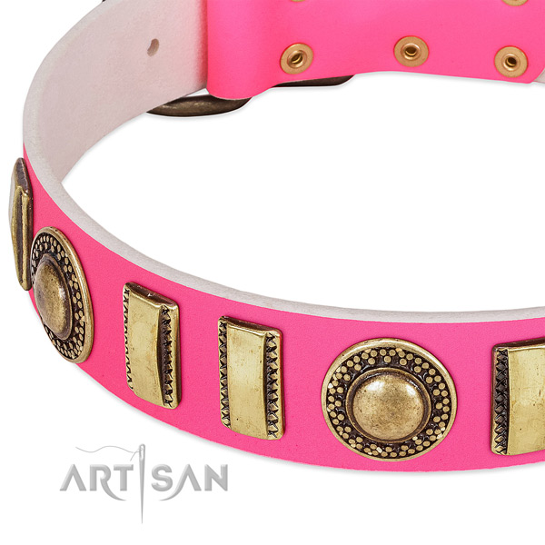 Soft to touch full grain genuine leather dog collar for your lovely four-legged friend