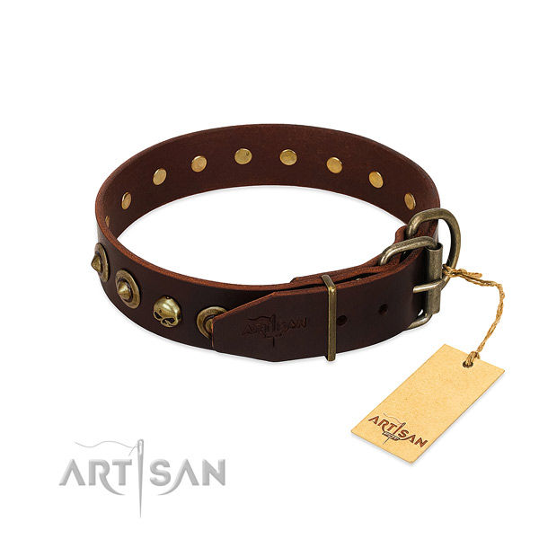 Full grain natural leather collar with amazing embellishments for your canine