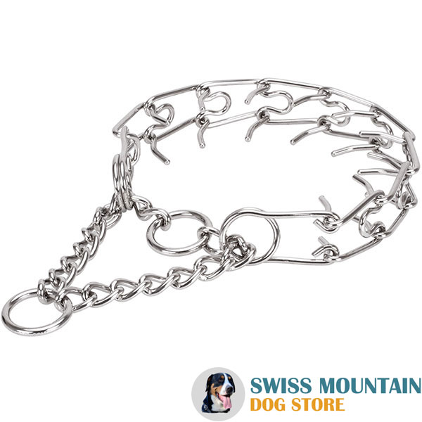Stainless steel dog prong collar with removable links for large dogs